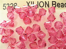 20 Rose Swarovski Crystal Beads Bicone 5328 6mm