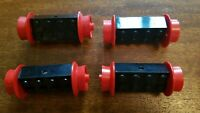 4x Pairs Lego Red Spoked Train Wheels and Axle Blocks Rare Vintage