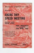 1953 Port Wakefield Anzac Day Programme Racing Touring Sports Motorcycle Car