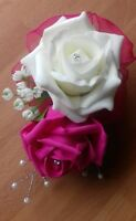 Wedding flowers corsage ivory/hot pink foam roses,diamante,pearls,organza bow