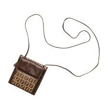Fend Mini Bag Beige Brown FF Zucca Print Monogram PVC Leather Crossbody