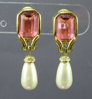 VTG GOLD TONE CLIP ON EARRINGS Emerald Cut PINK RHINESTONE Faux Pearls DANGLE
