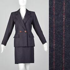 Xs 1990s Striped Skirt Suit Vtg Navy Blue Wool Yves Saint Laurent Rive Gauche