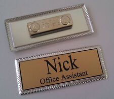 """GOLD Engraved Name Tag on SILVER metal frame 1""""x3"""" w/ magnetic badge attachment"""