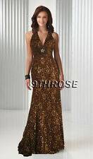 CUTTING EDGE! BEADED V-NECK FORMAL/EVENING/BALL/PROM LONG DRESS; BROWN AU10/US8