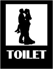Restroom decal, embrassing couple decal, funny toilet sticker, toilet decal