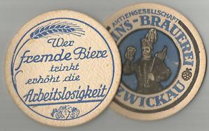 Vereins-Brauerei Zwickau, gegen Arbeitslosigkeit, Bier, Bierdeckel, VK, Vorkrieg