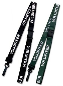 Volunteer ID Soft Neck Lanyard For Id Card Badge Holder Qty's of 1-50