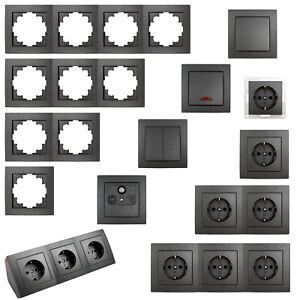 FLAIR Schalterserie für Unterputz, Licht-Schalter Doppel-Steckdose Kombischalter