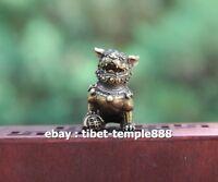 3 CM China 100% Pure Bronze Foo Dog Lion Beast Animal Play Ball Amulet Sculpture