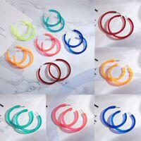 Fashion Geometric Colorful Round Dangle Hoop Earrings Women Wedding Jewelry Gift