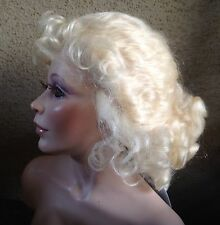 "Doll Wig,Sapphire 10-11"" Honey Blonde, 100% mohair. Curls cascade & tendrils"