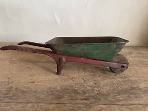 Sweet Old Antique Original Paint Red Green Small Wheelbarrow Metal Toy? AAFA