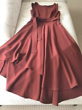 KAREN MILLEN UK SIZE 12 BURGUNDY ASYMMETRIC MIDI BELTED DRESS WITH TAGS