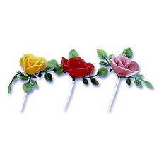 ROSE CUPCAKE PICKS  Cake Flower Cake Toppers Garden Party Supplies Decoration 24