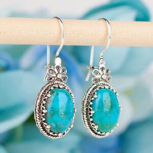 Bohemian Flower Handmade 925 Silver Turquoise Drop Dangle Vintage Earrings Hook