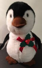 "Christmas Penguin Plush 11"" Vintage Applause 1988"