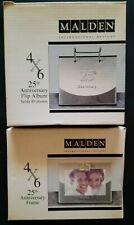 MALDEN INTERNATIONAL DESIGNS 4x6 25TH ANNIVERSARY SILVER FLIP PHOTO ALBUM&FRAME