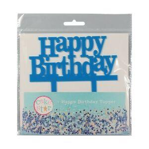 Happy Birthday Blue Pic Motto Cake Topper Decoration