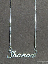 """925 Sterling Silver Name Necklace - Name Plate - SHARON 17"""" Chain w/Pendant"""