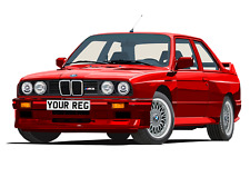 POSTER - BMW E30 M3 - (A4, A3, A2 Size) - CHOOSE REG & Colour PERSONALISE Car