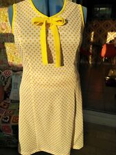 Vintage Summer Dress Size 14-16.  Yellow/White Spots With Pussy Bow Collar...