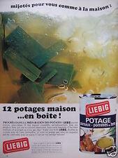PUBLICITÉ LIEBIG 12 POTAGES MAISON EN BOÎTE MIJOTÉS POUR VOUS