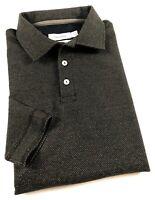CALVIN KLEIN Polo Shirt Men's Body Fit Long Sleeve Mottled Black Fleece