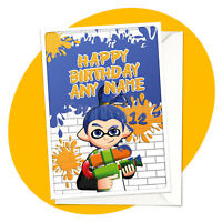 Inkling Boy - PERSONALISED BIRTHDAY CARD - Splatoon personalized gamer greeting