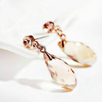 18k Rose Gold Teardrop Crystal Long Dangle Earrings Lady Stud Earrings Gift