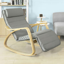 SoBuy® Comfortable Relax Rocking Chair with Footrest Grey Cushion,FST16-DG,UK