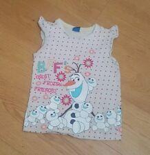 Girls Disney Frozen Olaf T-Shirt - White Size 7-8 Years - Snowman