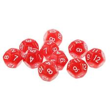 10pcs Twelve Sided Dice D12 Playing Dungeons & Dragons D&D TRPG Games Red