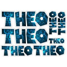 THEO Vinyl Name Stickers A5 Sheet Computer Chip Laptop Name Kids Gift #30012