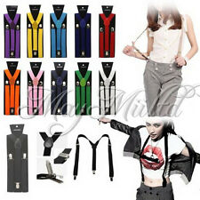 17 Colors Braces Suspenders Adjustable Unisex Neon UV Dress & Plain Y Back XW タ