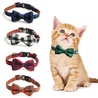 Adjustable Plaid Pet Bow Tie With Bell Necktie Collar For Cat Kitten Puppy Dog