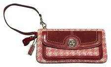 *NEW* COACH LARGE OVERSIZE WOOL TWEED HOUNDSTOOTH PINK GREY TURNLOCK WRISTLET