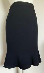 Viyella Petites Woman's Navy Blue Lined Skirt With Panel Hem  Size 12 uk  Office