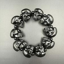 118 gram Natural Obsidian Quartz crystal Handmade carved skull Bracelets healing