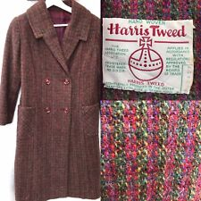Stunning Vintage Harris Tweed Purple Lined Winter Coat M