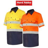 Mens Hard Yakka Long Sleeve Work Shirt Hi-Vis Taped KoolGear Summer Vent Y07735