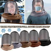 Full Face Mask Transparent Hooded Winter Outdoor Warm Full Face Scarf Men Women
