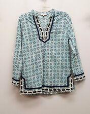 SAINT TROPEZ WEST Size S Blue Floral Print Long Sleeve V Neck Tunic Top