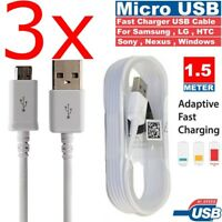3x Extra long 1.5M Samsung Galaxy S7 S6 Note 5 Micro USB Fast Charger Cable Lead