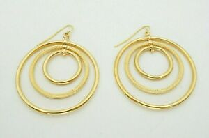 Milor Italy 14k Yellow Gold Three Circle Dangle Hook Earrings