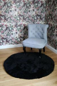 Lambskin Rug Circle Black Short Wool Real Merino Sheepskin