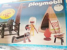 Vintage 1980s NOS Playmobile Toy Set 2960 Teepee totem pole Figure Horse Tent