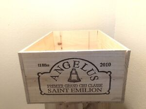Wine Box Case Wooden Crate 12/750ml Chateau Angelus Premier Cru St Emilion