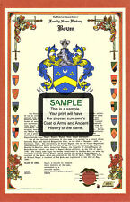 B's CELEBRATION Armorial Name History Coat of Arms Family Crest 11x17 CUSTOM HRC