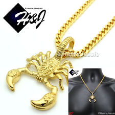 "20""MEN Stainless Steel 4.5mm Gold Cuban Curb Link Chain Scorpion 3D Pendant*GP57"